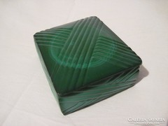 Art deco üveg malachitkő hatású ékszer tartó,bonbonier