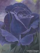 Lila rózsa c .festmény, csendélet
