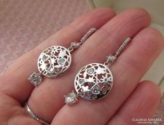 Ezüst fülbevaló cirkónia kövekkel beakasztós - dekoratív - új