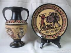 Görög amfóra és dísztányér,dísztál.
