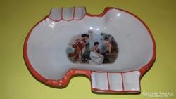 Antik Altwien porcelán hamuzó hamutartó