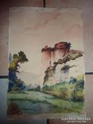 W. Massanari: Tájkép várral,régi akvarell jelzéssel 1945-ből