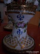 Réz koronás porcelán gyertyatartó. Jelzés nélküli.