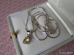 Citrin köves ezüst medál + ezüst nyaklánc új ékszer