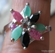 Rubin, smaragd, zafír 925 ezüst gyűrű 17,1/53,7 mm