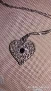Filigrán ezüst szív medál nyaklánccal