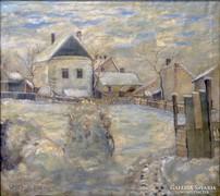 0L086 Wanek S. Ferenc : Téli utcakép 1947