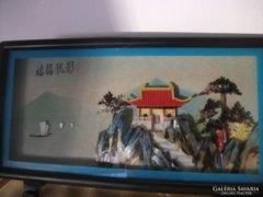 Kínai- szignós-gyöngyház és korall kép-20,5x15,5 cm