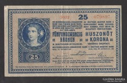 25 korona 1918.  SIMA HÁTLAP!!