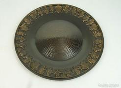 0L536 Iparművészeti bronzírozott fém dísztál 36 cm