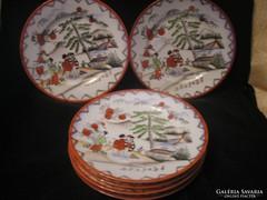 Antik Japán porc.dús aranyozott tányér,6db 20cm-es