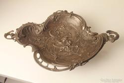Neorokokó ón kínáló tál, asztalközép