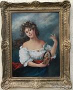 Lány csörgődobbal  Olaj vászon 60x80 antik jelzett  Erdélyi