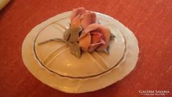 EREDETI -- ENS porcelán bonbonier, rózsafogós tetővel.