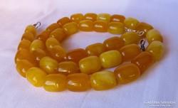 Sárga jade - csodás gyöngysor, karkötő szett ezüst csatokkal