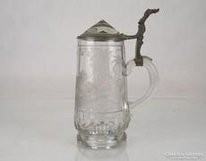 0M072 Antik ón fedeles csiszolt üvegkupa korsó