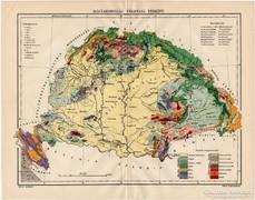 Magyarország földtani térkép 1915, régi