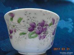 Bécsi ibolyás vastagfalu számozott teás csésze(2)-11x6,5 cm