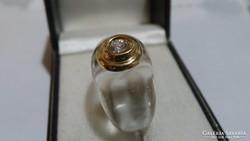 Áttetsző gyűrű 18 karátos arany rátéttel 3,01 gramm
