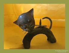 Retro,régi kézműves cica gyertyatartó