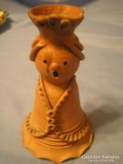 Buday Ágota  terrakotta jelzett lány gyertyatartó U5