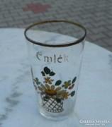 1900-as évek kézzel festett  virágmintás üveg emlékpohár