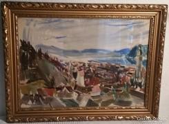 Kóka Ferenc Nagymarosi táj képcsarnokos festmény 50 X 38 cm