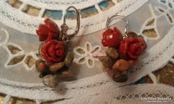 Korall rózsás fülbevaló