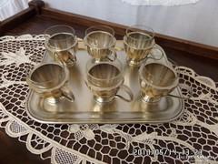 Alpaka tálcán 6 db alpakka pohár