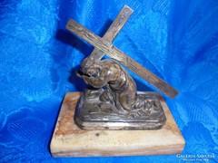 Régi bronz szobor márvány talpon: Kálvária