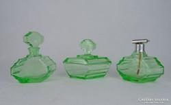 0M612 Régi 3 darabos zöld üveg pipere készlet
