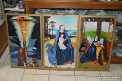 3 darab fára festett szent kép