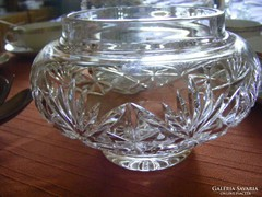 Különleges kristály kínáló tál ajándék ezüstözött csipesszel