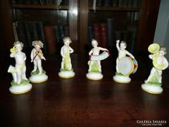 AKCIÓ! 6 db Scheiben-Alsbach nudista gyerek zenész porcelán