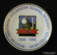 Vegyipari dolgozok hollóházi porcelán emléktál 1996