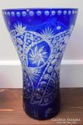 Hatalmas ajkai kék fehér csiszolt ólomkristály váza