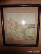Hoch jelzéssel: Keszthely,1959 régi akvarell, Hoch Ferenc?