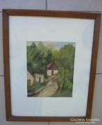 Házikók domboldalban, Miskolc 1966 jelzéssel, akvarell