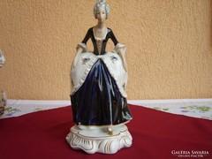 Hatalmas Royal Dux hölgy kobaltkék és arany festéssel,30cm