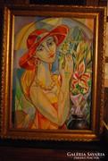 Józsa János Nő piros kalappal