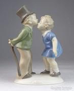 0M681 Régi GDR porcelán kétalakos figura