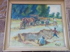 Luczi János /Debrecen, 1939-    Rakodás c.festménye jjl., o.,far.,Keret