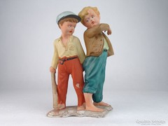 0M709 Hibátlan biszkvit porcelán fiú pár 22.5 cm