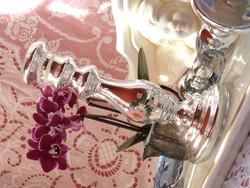 Antik foncsorozott üveg gyertyatartó
