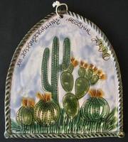 Kaktuszkiállitás Mezőtur kerámia falidisz