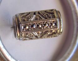 Ezüst régi  markazit berakású  ívelt gyűrű 55-ös