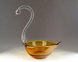 0N025 Régi hattyú üveg borostyán hamutál 22 cm