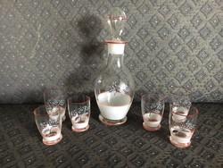 Retro italos/boros  palack poharakkal (készlet)