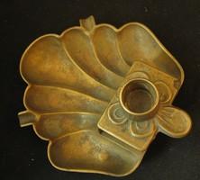 Antik sárgaréz hamutál gyertyatartóval