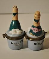 Limoges jelzésű porcelán pezsgősüveg formájú, gyűrűtartó 2 db egyben eladó